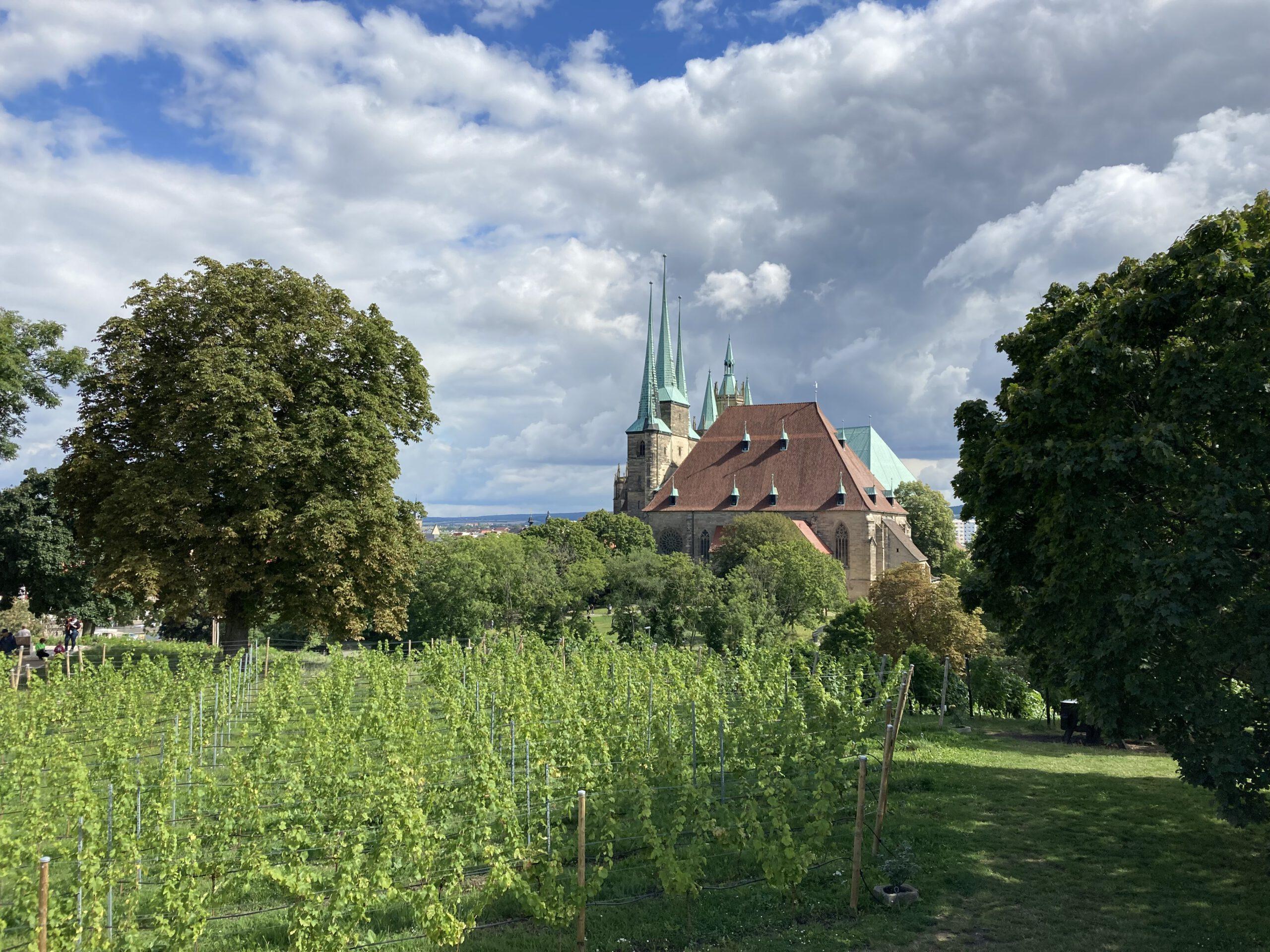 Petersberg in Erfurt mit dem Blick auf die St. Severi Kirche und den Erfurter Dom im Hintergrund